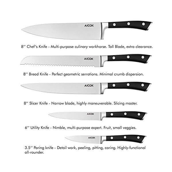 AICOK Juego de bloques de Cuchillo cocinero profesional | 6 piezas | Extra fuerte | acero inoxidable | mangos…