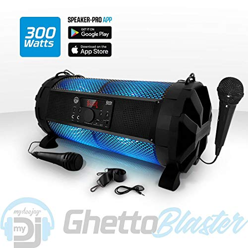 Enceinte Sono Mobile LED RVB - 300W - USB/BT + 2 Micros - MyDJ Ghetto Blaster
