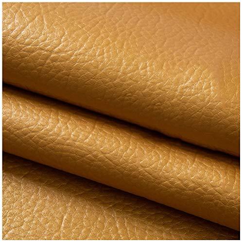 YANGUANG Polipiel Tela Cuero Artificial Cuero de Imitación 0.6mm Acabado Grueso Piel Oculta Artesanías Herramientas Costura Hobby Taller Fabricación de Accesorios de Cuero - Oro, 1.4 × 1m