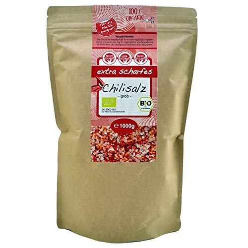 direct&friendly Bio Chili Salz grobes Kristallsalz ehemals Himalaysalz mit extra scharfer Bio Chili ideal für die Salzmühle (1 kg)