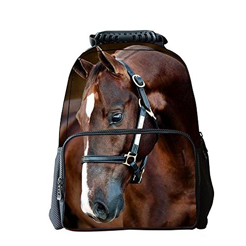 3D Steed Horse Backpack Kids Back to School Slim Travel Laptop Backpacks Lunch Bags for Teens (Horse 3)