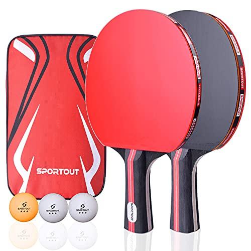 Sportout Tischtennisschläger, Tischtennis Set, 2 Tischtennis-Schläger und 3 Tischtennis-Bälle(Logo (Beginner Play)
