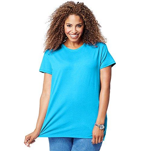 Just My Size Women's Plus-Size Short Sleeve Crew Neck Tee, Process Blue, 2X