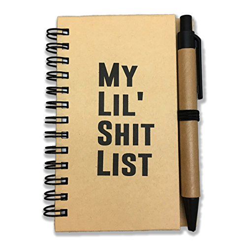 My Lil Shit List Notebook and Pen Set - Best Friend Gift Pocket Notebook Gag Gift for Friends Kraft Paper Spiral Lined Paper Little Diary Novelty Gifts for Adults Stocking Stuffers Gag Gift Stationery