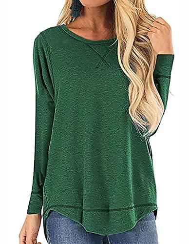 QAKEHU Damen T-Shirt Rundhals Kurzarm und Langarm Oberteil Tunika Bluse mit Schlitz Green L