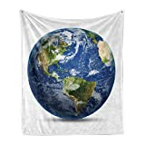 Lunarable World Map Soft Flannel Fleece Throw Blanket, Planet Earth Picture from Space Satellite Continents Clouds Picture, Cozy Plush for Indoor and Outdoor Use, 70' x 90', Navy Blue