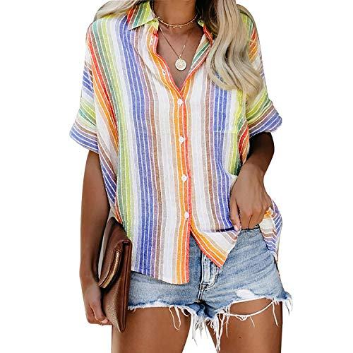 Syrads Damskie paski topy z krótkim rękawem guziki puchowe bluzki letnie na co dzień szyfonowe koszule