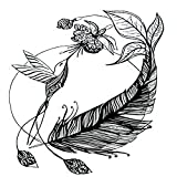 Tattoo design 6 Sheets Temporary Tattoos Hummingbird Flying to a Flower Feathers Black and White Hand Temporary tattoo Neck Arm Chest for Women Men Adults 3.7 X 3.7 Inch