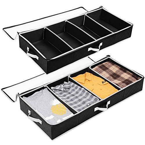 SOLEDI Paquete de almacenamiento de ropa debajo de la cama, divisores ajustables, caja organizadora de almacenamiento de tela debajo de la cama, soporte para contenedores para niños y adultos