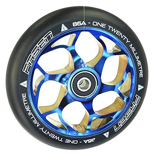Fasen Stunt-Scooter Wheel - Rueda de repuesto para patinete infantil (120 mm, con rodamiento de bolas, pegatina Fantic26), color azul cromado y negro