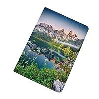 新しい iPad 10.2 ケース iPad 第7世代(2019モデル) 自然 湖のワンダーラストの風景 インチ 保護カバー 軽量 薄型 シンプル タイプ 全面保護型 傷つけ防止 手帳型 ケース PU グリーンブルーとオーストリアアルプス山脈の霧の夏の朝
