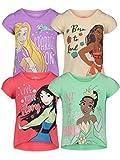 Disney Princess Mulan Rapunzel Moana Tiana Toddler Girls 4 Pack T-Shirt 5T