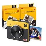 Kodak C300R Mini Shot 3, Camara Fotos Instantaneas con Impresora + 68 Fotos, Formato Cuadrado 76X76 Mm, Conexión Inalámbrica Bluetooth, Compatible con iOS y Android - Amarillo