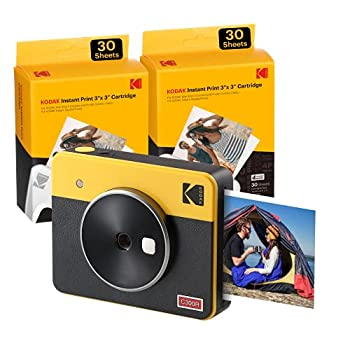 Kodak Mini Shot 3 Retro  60 Sheets  3x3 2-in-1 Instant Camera & Photo Printer Compatible with iOS Android & Bluetooth Real Photo HD 4PASS Technology & Laminated Finish – Yellow