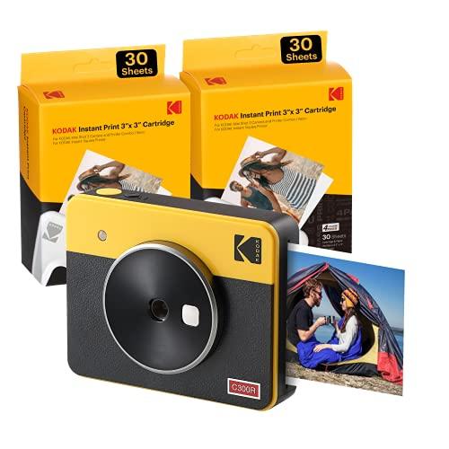 Kodak C300R Mini Shot 3, Camara Fotos Instantaneas con Impresora + 68 Fotos, Formato Cuadrado 76X76 Mm, Conexión...