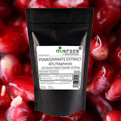 Nutrics 100% Pure Pomegranate Seed Extract 5120mg 40% Polyphenols  60 Vegan Capsules (2 Month Supply)  Made in The UK by Nutrics Laboratories  Suitable for Vegan Vegetarian Halal Kosher