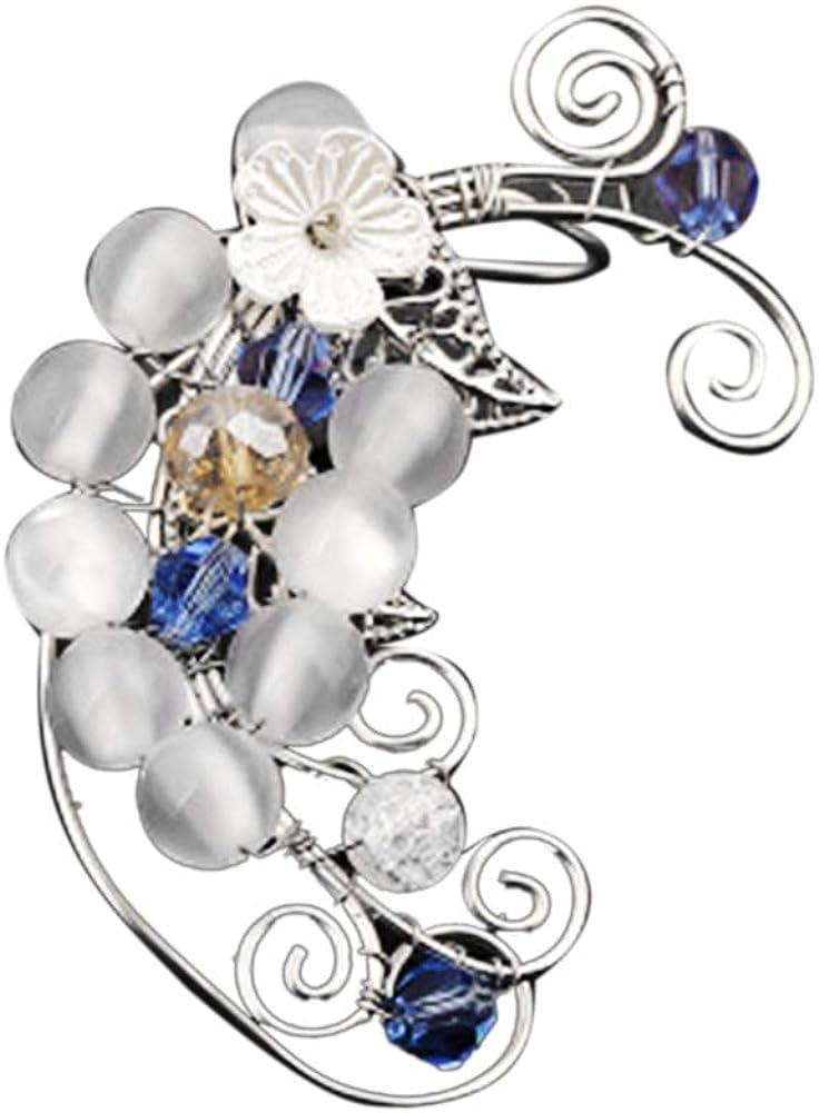 Fashion Women's Ear Clip,1Pc Hollow Flower Leaf Elf Faux Pearl Ear Cuff Clip On Earring Party Jewelry - 6# Right Ear#