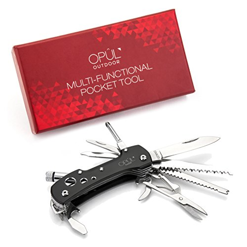 Couteau Suisse, Couteau de Poche OPUL - Outil de Poche Multifonction, Acier Inoxydable, 12 Outils en 1, Outil de Camping, Couteau de Survie Indispensable pour l'Extérieur, Design Chic et Moderne