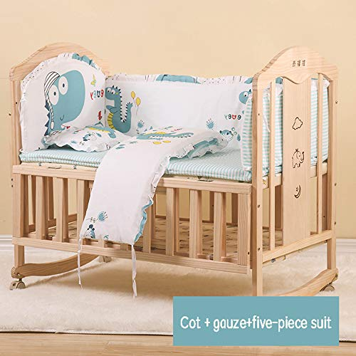 Find Bargain Dzhyy Children's Bed, Multifunctional Crib Game Newborn Bed Can Be Spliced Baby Cot,US ...