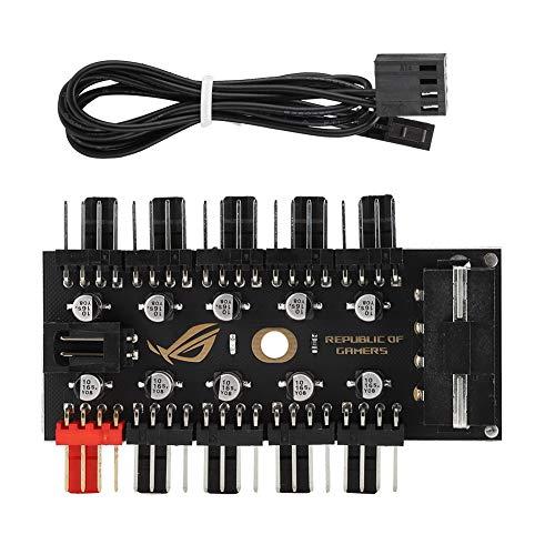 Concentrador de Ventilador PWM de 4 Pines, Controlador de concentrador de Ventilador de CPU de Placa Base de chasis de computadora de 10 Canales, para Ventilador de refrigeración de computadora