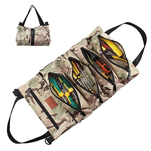 Oeternity Super Tool Roll Bags, Multiusos 600D Oxford Llave Enrollable Bolsas para Herramientas para Automóvil, Motocicleta, Portaherramientas para Colgar con Cremallera, para Jardín Y Electricista,A