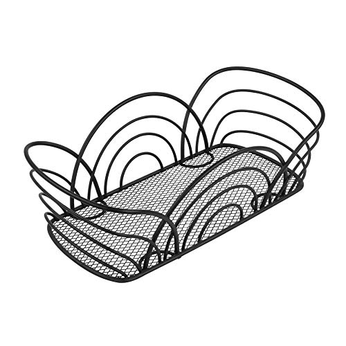Spectrum Diversified Flower Basket, Classic Kitchen Design for Breads, Roll, Muffin Pastries & Baked Good Storage, Traditional Style Snack & Food Holder for Serving, Black