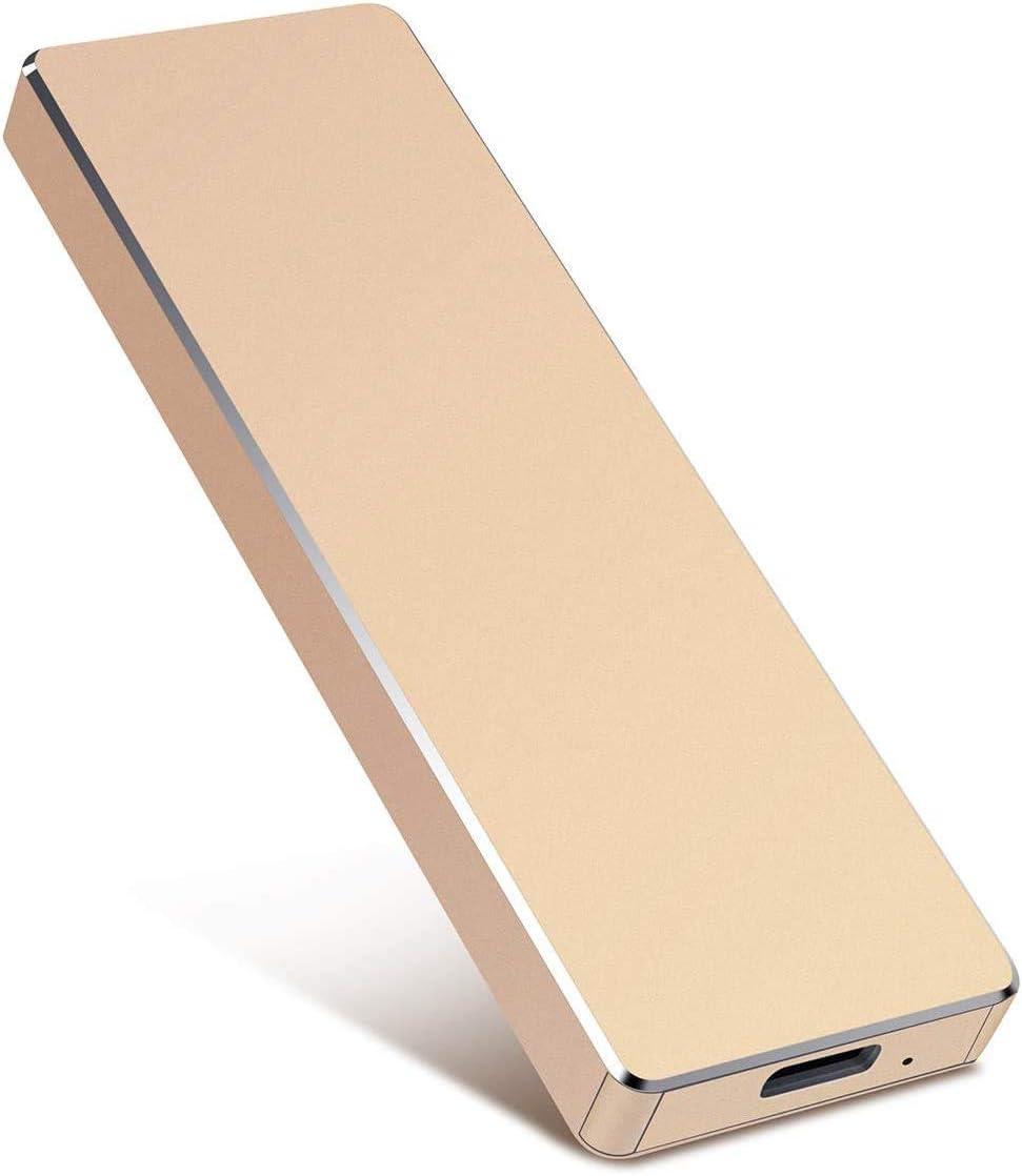 Gold-B External Hard Drive Tipo C USB 2.0 Port/átil 2TB Hard Drive External HDD Compatible con Mac Laptop y PC