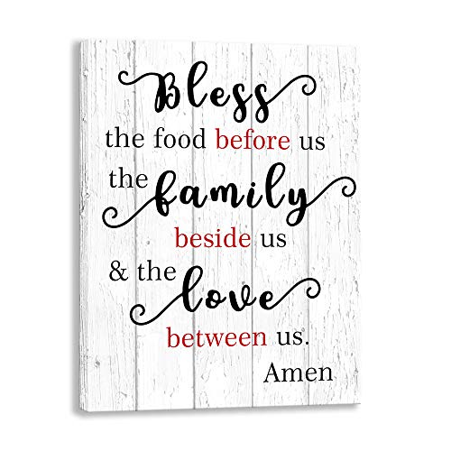 Family Kitchen Wall Art Sign, Bless The Food Before Us, Funny Kitchen Pantry Rules Canvas Prints Signs Framed,Retro Wooden Plaque Restaurant Hotel Decoration Mural (12 X 15 inch, Kitchen Best)
