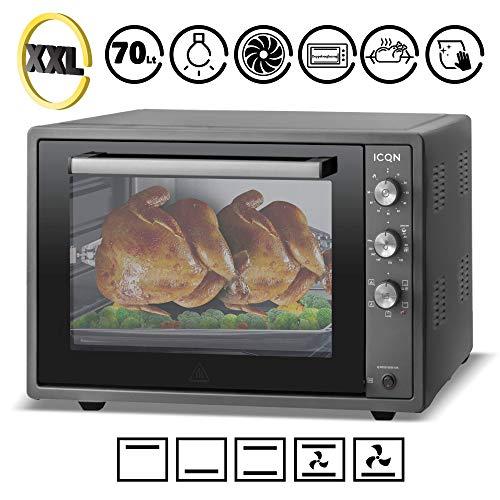 ICQN 70 Liter Schwarz Mini-Öfen   1800 W   Mini-Backofen mit Innenbeleuchtung und Umluft   Pizza-Ofen   Doppelverglasung   Timer Funktion   Emailliert Black