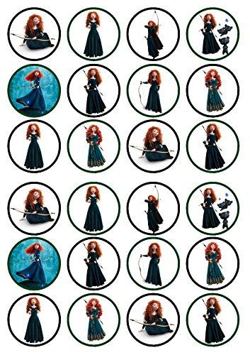 24Prinzessin Merida, Precut Aufstehen –,-Wafer, Kuchen, essbare Cupcake-Dekoration, Dekoration, 24 UNCUT