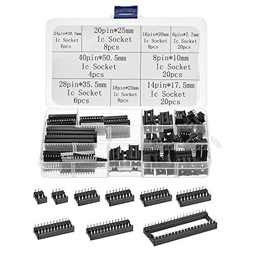 sourcing map Dip IC Chip Enchufe Adaptador 2,54mm Paso Doble Fila Plana Pines Soldadura Chip Conector Conjunto 6,8,14,16,18,20,24,28,40 Pines Negro