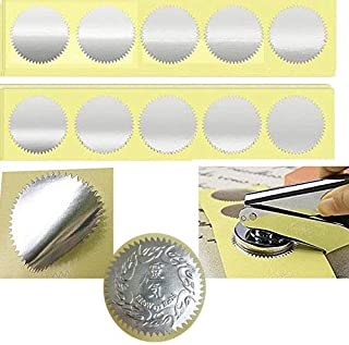 MDLG 100pcs Silver Vintage Embosser Stamp Sealing Blank Certificate Self-Adhesive Stickers (Silver)