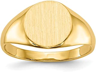 Roy Rose Jewelry 14K Yellow Gold Solid Closed Back 9mm Round Signet Ring Custom Personailzed with Free Engraving Available Initial or Monogram