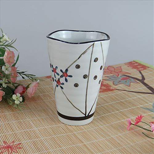 Neaer Vaso para cepillos de dientes de estilo japonés pintado a mano, creativo, vaso de cerámica para baño (color de hierba enredada, tamaño: 301-400 ml)