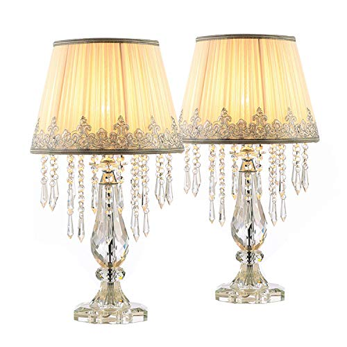 Moooni Two Set of White Ruched Fabric Crystal Table Lamp Crystal Base Glam Bedside Desk Lamps Set of 2 for Bedroom Living Room Dimmable W 12.8' X H 22.8'