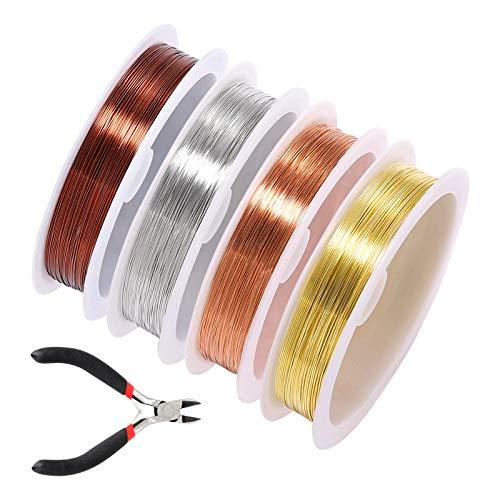 4 Rollen Schmuckdraht, Draht-Wickelset, Basteldraht mit diagonaler Zange, anlaufgeschützt, Kupfer-Schmuckdraht in verschiedenen Farben, 0,6 mm