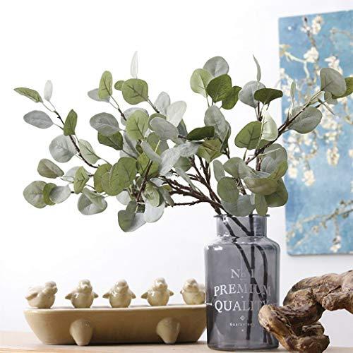 VNEIRW 1PC Künstlich Eukalyptus Pflanze Zweig eukalyptus blätter Deko künstliche Silber-Dollar-Eukalyptusblätter für Garten, Hochzeit, Haus, Außen- und Innendekoration (B)
