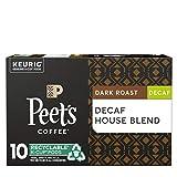Peet's Coffee Decaf House Blend K-Cup Coffee Pods for Keurig Brewers, Dark Roast, 10 Pods