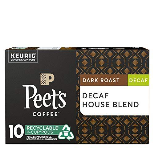 Peet's Coffee Decaf House Blend Dark Roast Coffee K-Cup, 10 ct