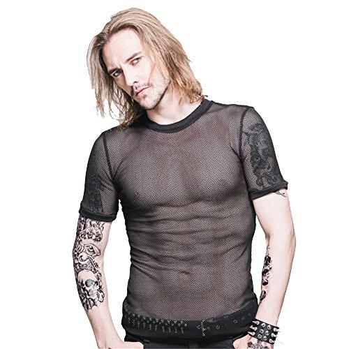 Devil Fashion Mannen Steampunk Perspectief Net Korte Mouwen T-Shirt Gothic Zomer Blouse Casual Tops Ronde kraag Top Tee,6 Maten