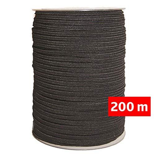 Goma elástica costura Negra 200m, 4mm de ancho, cordón para confección y manualidades. Rollo de cinta elástico para costura. (200 m)