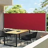 Patio-Seitenmarkise, Balkon-Sichtschutz Garten Terrasse Seitenrollo Outdoor-Sichtschutzteiler Patio Einziehbare Seitenmarkise 600x160 cm Rot