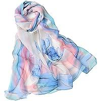 WZTP pañuelos de Emulación seda Mujer Mantón Bufanda Moda Señoras Playa Estolas Fular Azul