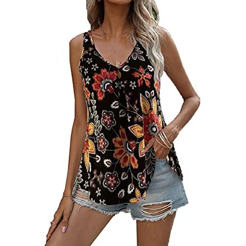 WHZXYDN Camiseta De Mujer De Camisola con Cuello En V De Moda Multicolor