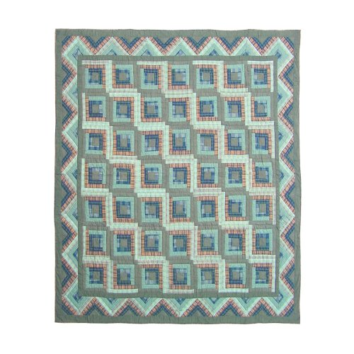 Patch Magic Twin Green Log Cabin Quilt, 65-Inch by 85-Inch by Patch Magic