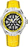 Stuhrling Original Mens Swiss Automatic Watch - Self Winding Mens Dress Watch Mens Yellow Leather Sport Watch Mechanical Skeleton Watches for Men