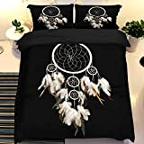 Dream Catcher Duvet Cover with 2 Pillowcases Dream Colored Feather Bedding Set with Zipper Closure modern...
