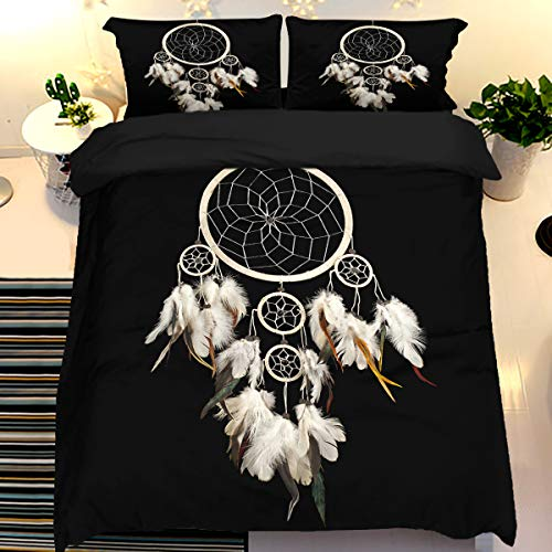 Dream Catcher Duvet Cover with 2 Pillowcases Dream Colored Feather Bedding Set with Zipper Closure modern style 3 Pieces Hypoallergenic Soft Microfiber Quilt Cover Set Double Size 200 x 200cm