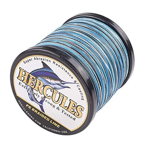 Hercules Super Cast 1000M 1094 Yards Braided Fishing Line 80 LB Test for Saltwater Freshwater PE Braid Fish Lines Superline 8 Strands - Blue Camo, 80LB (36.3KG), 0.48MM