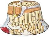 BONRI Cappelli a Secchiello Traspiranti a sommità Piatta Cappello a Secchiello Unisex per Uova Fritte Cappello Estivo da Pescatore-Patatine Fritte-Taglia Unica